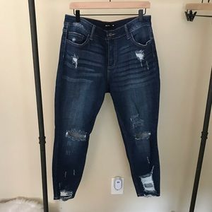 Ms. CELLO Distressed High Waisted Skinnies